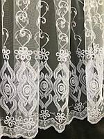 Елегантний білий тюль з фатину з вишивкою білого кольору на метраж, висота 2,8 м (12М216), фото 3