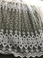 Елегантний білий тюль з фатину з вишивкою білого кольору на метраж, висота 2,8 м (12М216), фото 4