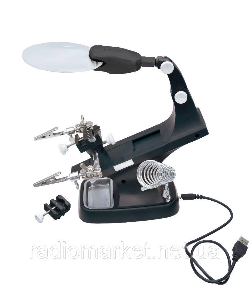 Третя рука з LED підсвічуванням+ підставка під паяльник ZD-10Y, харчування 220V