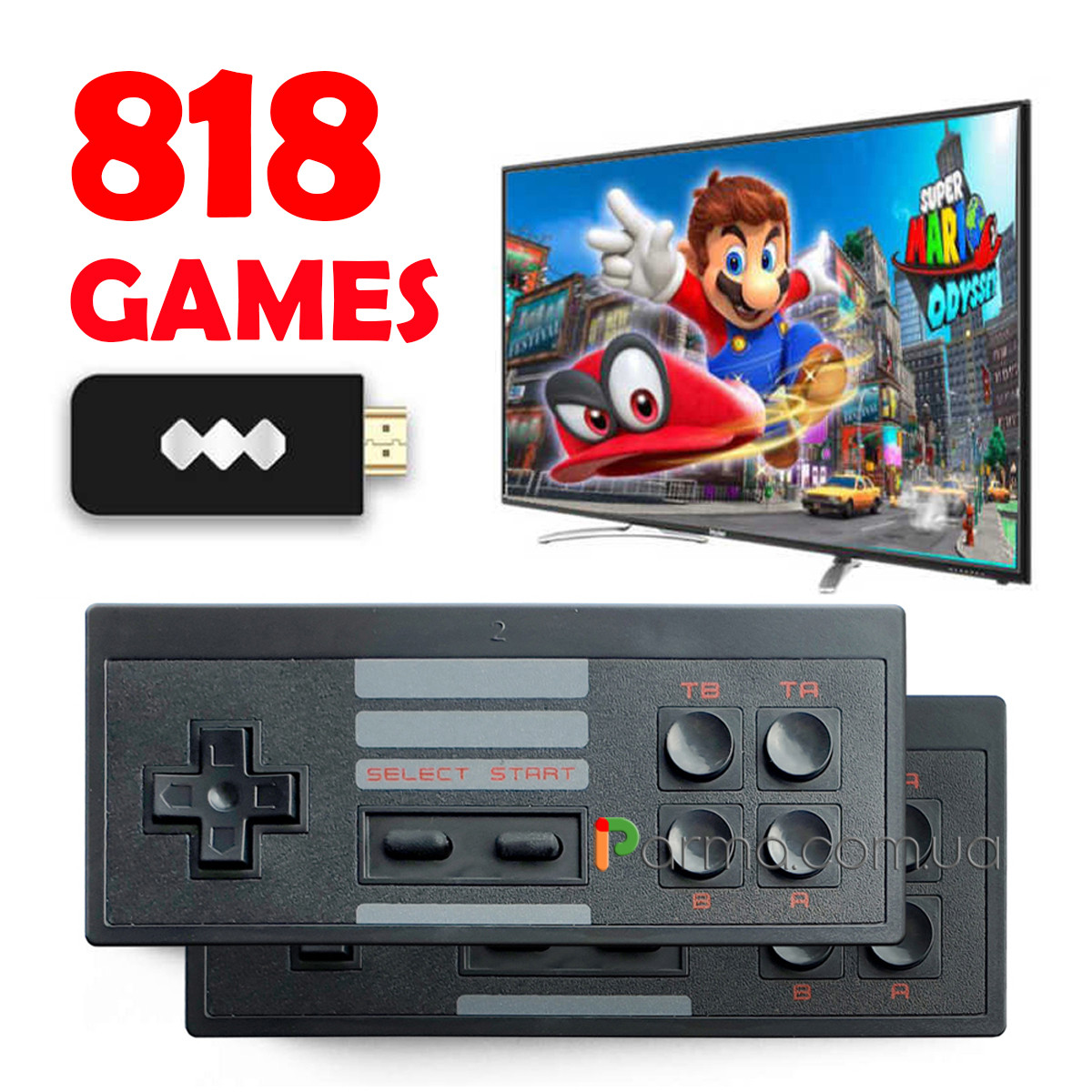Игровая приставка Dendy HDMI  | 818 встроенных игр 8 бит