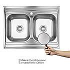 Кухонная мойка Lidz 6080 Decor 0,8 мм (LIDZ6080DEC08), фото 3