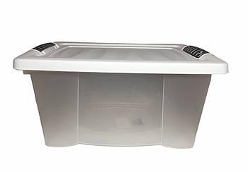 Ящик-контейнер пластиковый с крышкой на защелках cassetti