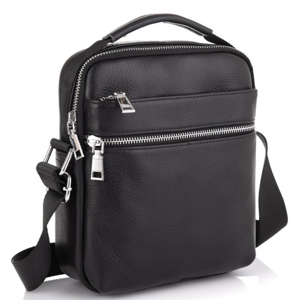 Мужская черная кожаная сумка через плечо Tiding Bag NM23-6013A
