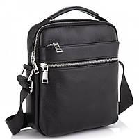 Мужская черная кожаная сумка через плечо Tiding Bag NM23-6013A, фото 1