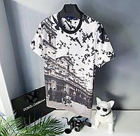 Мужская стильная брендовая футболка (белая) Dolce & Gabbana / Cotton , polyester