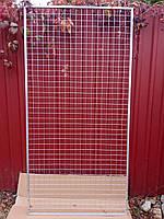 Металлическая серая сетка 150/77см настенная решётка ячейка-квадрат 5см в рамке без ножек, фото 1