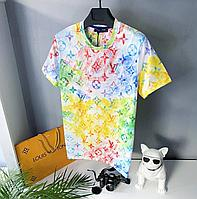 Мужская стильная брендовая футболка (разноцветная) Louis Vuitton / Cotton , polyester