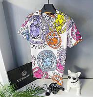 Мужская стильная брендовая футболка (разноцветная) Versace / Cotton , polyester
