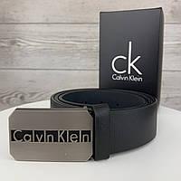 Мужской кожаный ремень пояс Calvin Klein Кельвин Кляйн брендовый из эко кожи пряжка гвоздик