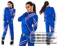 Модный женскийспортивный  костюм из брюк и толстовки на косой молнии с оригинальным ярким принтом цвета электрик