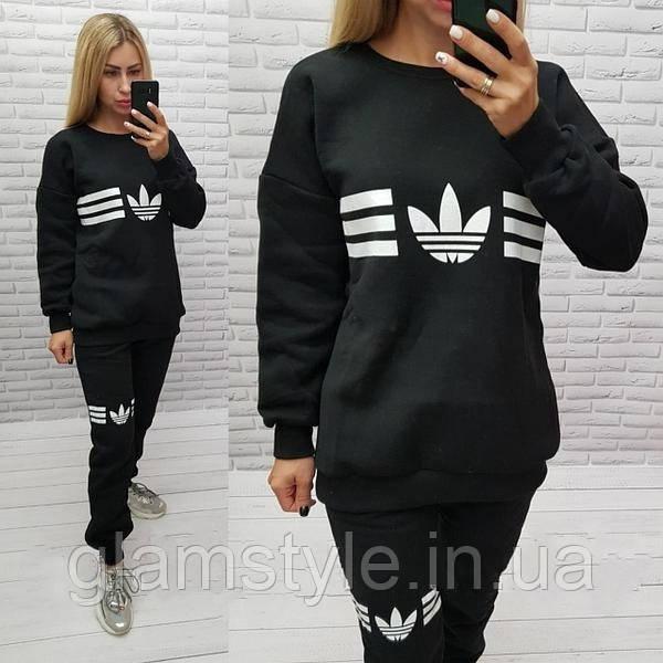 Женский спортивный костюм Adidas утеплённый на флисе черный. Размеры 46, 48, 50.