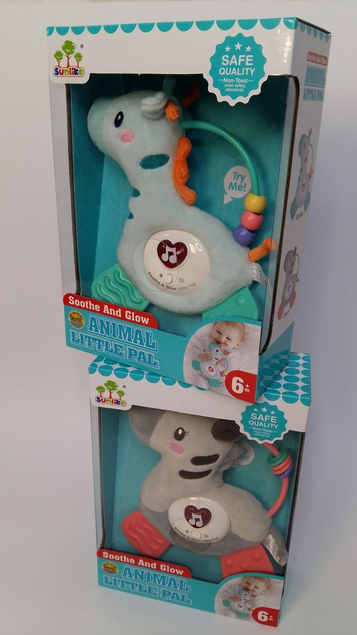 Мягкая игрушка развивающая музыкальная SUNLIKE Зебра, Жираф, Детская погремушка, свет, SL88004/5