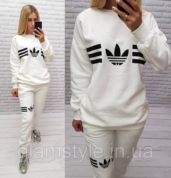 Женский спортивный костюм Adidas белый утеплённый на флисе. Размеры 48, 50.