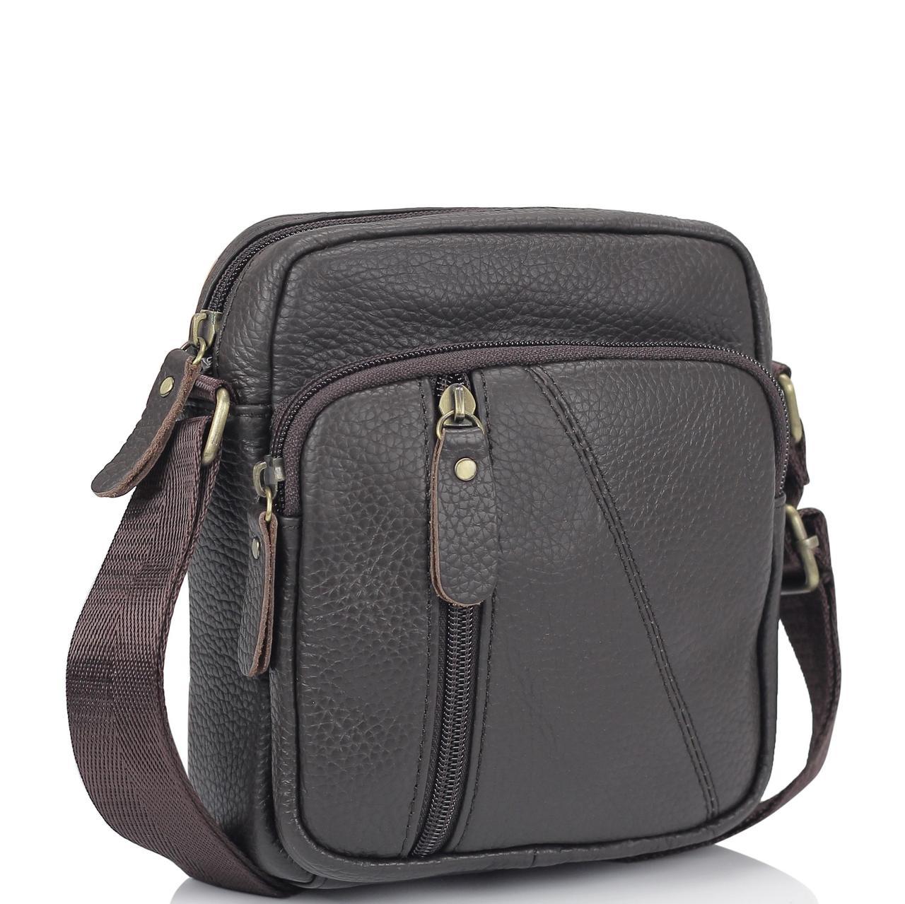 Мужская кожаная сумка коричневая через плечо Tiding Bag N2-1008DB