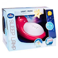 Ночник детский музыкальный Котик красный в детскую комнату, светильник на батарейках для детей
