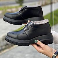 Женские ботинки кожаные зимние черного цвета