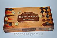Шахматы, шашки, нарды набор настольных игр (доска-бамбук,фигурки-дерево, р-р доски 30*30см)