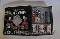 Покерный набор в метал. коробке-100 (100 фишек с номинал,2 кол.карт,р-р кор.19,5*20*5см)