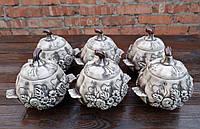Набор горшочков для духовки «Цветы» лепной декор 650 мл 6 шт (772)