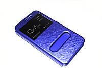 Кожаный чехол книжка для Samsung Galaxy J7 синий, фото 1