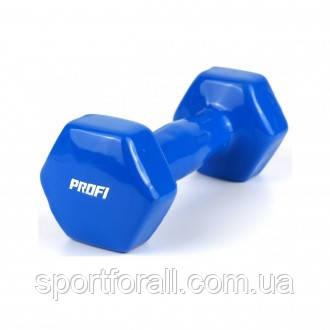 Гантели для фитнеса с виниловым покрытием 2х2 кг. PROFI MS 0290 (синие)