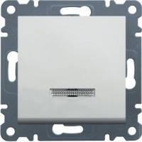 Выключатель 1-клавишный проходной с подсветкой Lumina-2, белый
