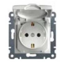 Розетка с заземлением и защитой контактов с крышкой Lumina-2, белый