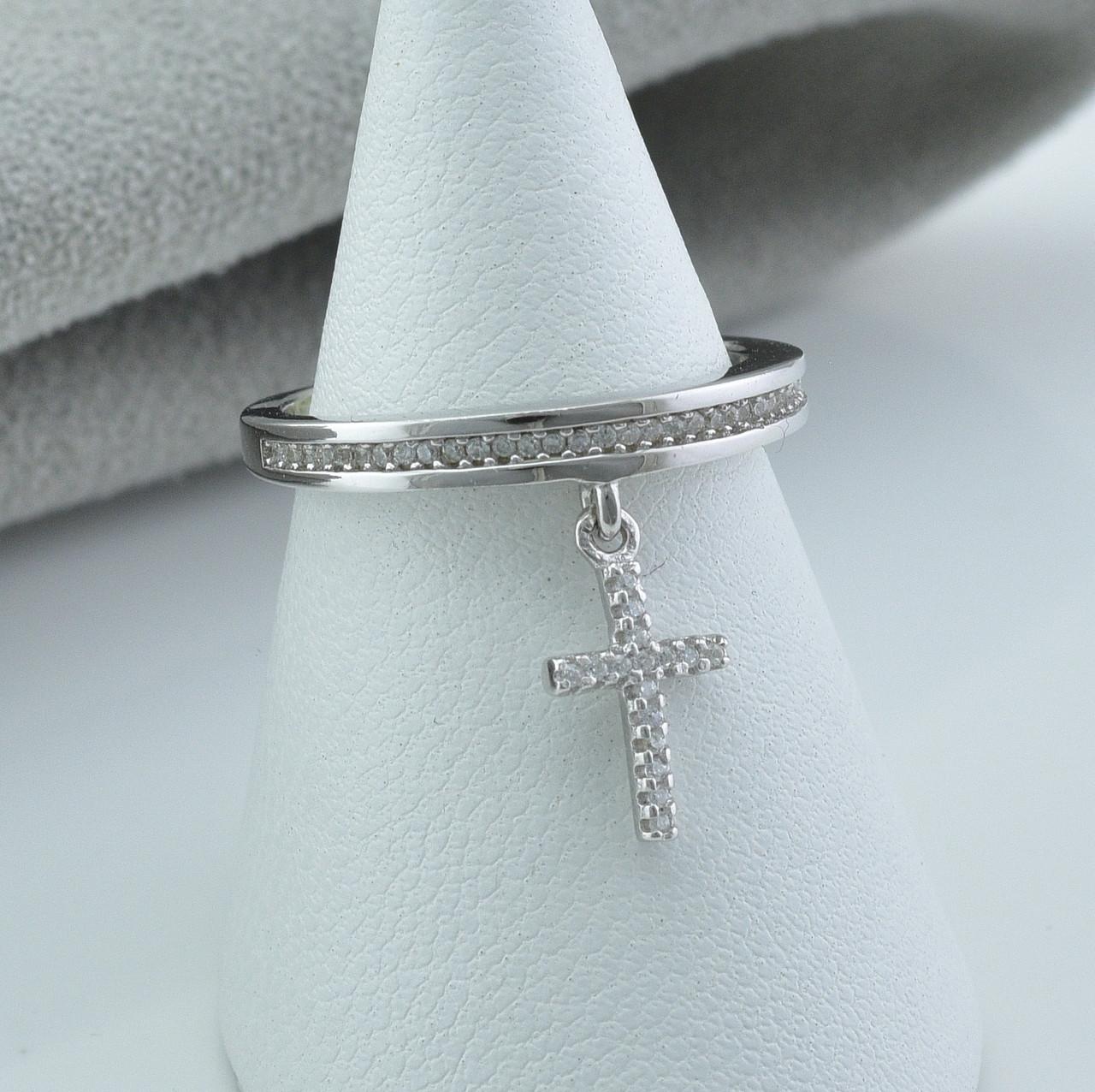 Серебряное кольцо размер 20.5 вставка белые фианиты вес 2.6 г