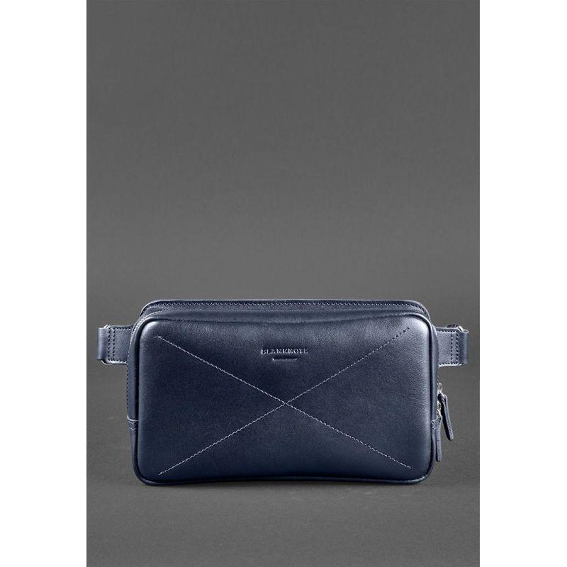 Кожаная поясная сумка Dropbag Maxi темно-синяя