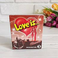 Презервативы ПРЕМИУМ Love is (лав из) С ПРИКОЛОМ Со Вкусом Шоколада, фото 1