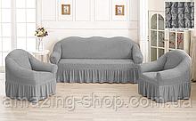 Чехлы Турецкие на диван + кресла | Дивандеки на диван и кресла | Накидки на диван и кресла | Цвет - Серый