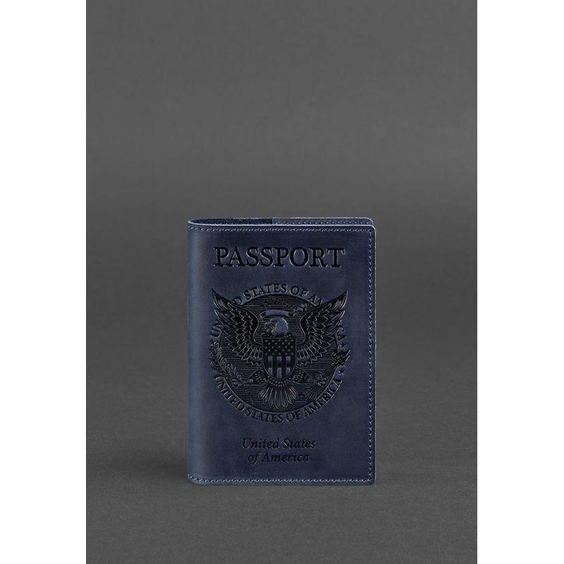 Кожаная обложка для паспорта с американским гербом синяя