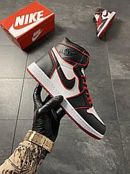 Женские кроссовки Air Jordan 1 Black Red(белый/красный/черный)