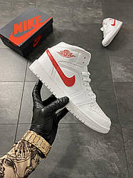 Женские кроссовки Air Jordan 1 White Red (белые)