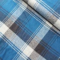 Фланелева тканина в темно-синю клітинку, ш. 140 см, фото 1