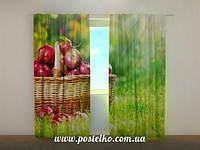 Фото шторы в гостинную Яблоки в корзине
