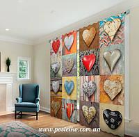 Фото шторы в гостинную Сердца-пуговицы