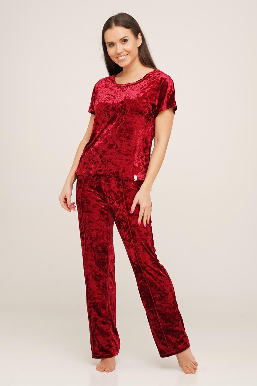 Шикарная ягодная пижама  из мраморного велюра