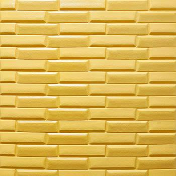 Самоклеюча декоративна 3D панель жовта кладка 700х770х7мм