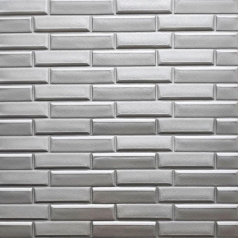 Самоклеюча декоративна 3D панель кладка срібло 700х700х7мм