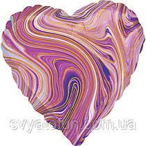 Фольгований куля серце Агат фіолетовий Пурпурний Marble S18 Anagram