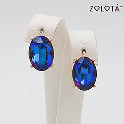 Серьги Zolota, размер 17х10 мм, кристаллы Swarovski сине-фиолетового цвета, вес 5 г, позолота PO, ЗЛ01328 (1)