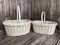 Кошики плетені набір з 2 шт білі, фото 1