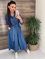 Женский джинсовое платье с поясом на пуговицах АР-23-0121