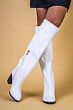 Белые кожаные зимние сапоги на каблуке, фото 2