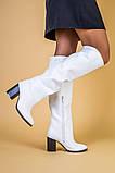 Белые кожаные зимние сапоги на каблуке, фото 3
