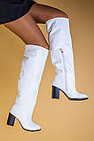 Белые кожаные зимние сапоги на каблуке, фото 4