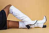 Белые кожаные зимние сапоги на каблуке, фото 5