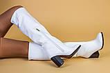 Белые кожаные зимние сапоги на каблуке, фото 6