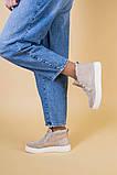 Ботинки женские замшевые бежевые на шнурках, зимние, фото 3